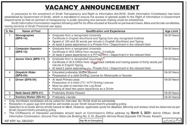 Sindh Information Commission, Sindh Transparency and Right to Information ,Government of the Sindh Jobs 2021 for Stenographer, Computer Operator, Junior Clerk & more