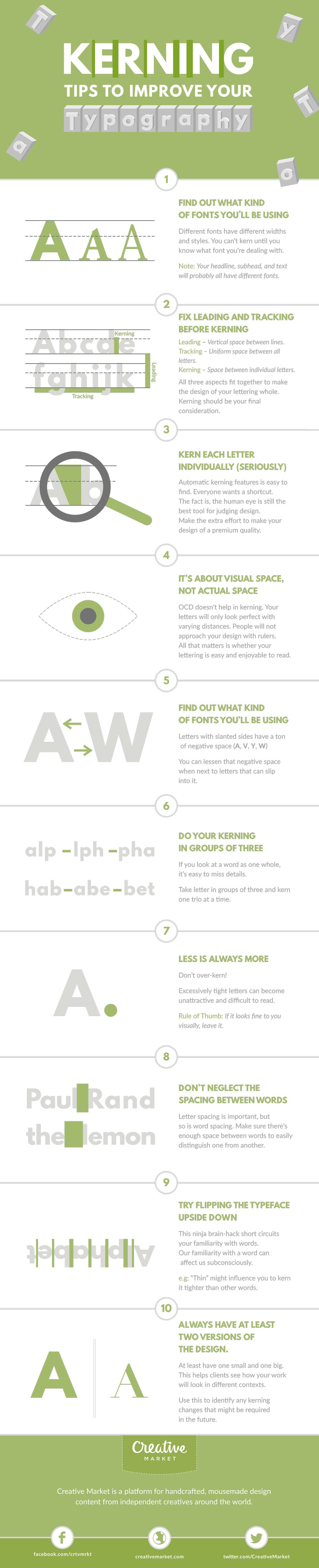 Kerning Tips to Improve Your Typography - #infographic