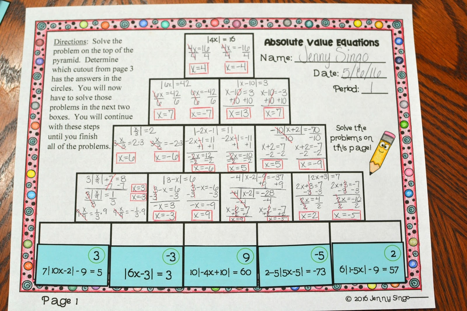Absolute Value Equations Activity