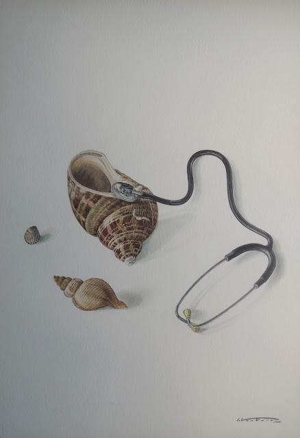 acuarela surrealista isidro ventura estetoscopio