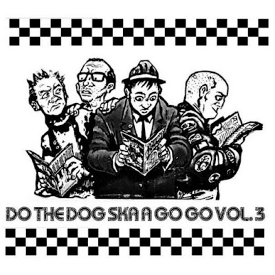 "The cover features cartoon versions of a rude boy, punk, and skinhead reading issues of ""Do the Dog Skazine"""