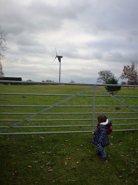Eldest stood at a gate fascinated by the wind mill