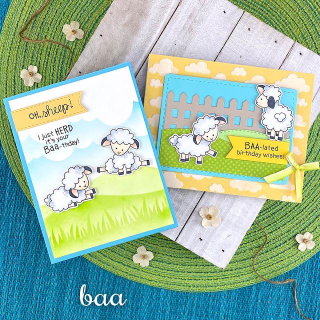 Sheep Birthday cards by Jennifer Jackson | Baa Stamp Set, Fence Die Set, Clouds Stencil, Hills & Grass Stencil, Land Borders Die Set and Banner Trio Die Set by Newton's Nook Designs #newtonsnook #handmade