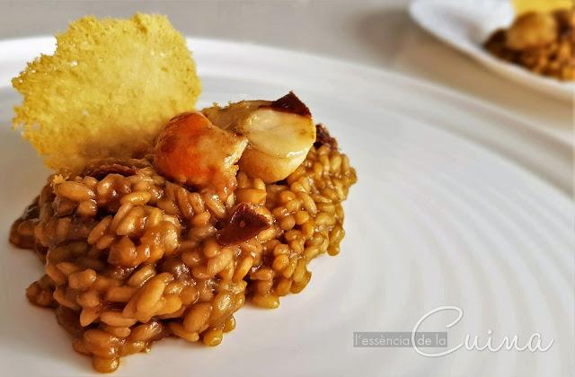 Risotto, vieira, all negre, arròs, cuina facil, l'essència de la cuina, blog de cuina de la sonia, arroz, cuina casolana