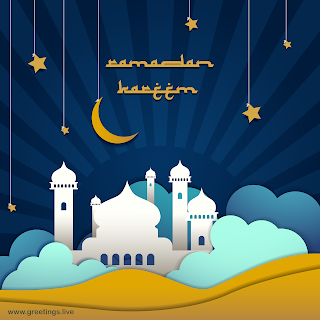 ramadan kareem 2019 wishes images HD with Mosque Crescent moon.