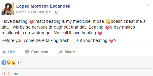 Queen of Facebook: I love my man because he beats me everyday