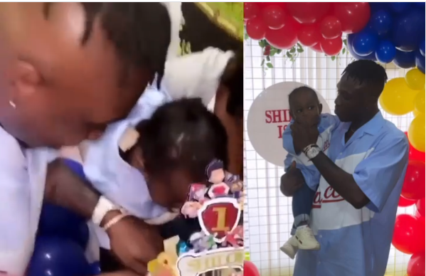 Rapper Zlatan Ibile and his baby mama, Davita celebrate their son's first birthday in UK (video)