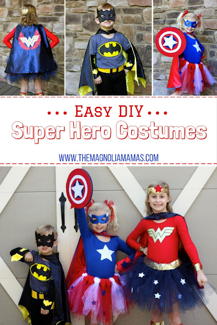 Easy DIY Super Hero Costume tutorial. Super cute super hero costumes that are easy to make inexpensively yourself.