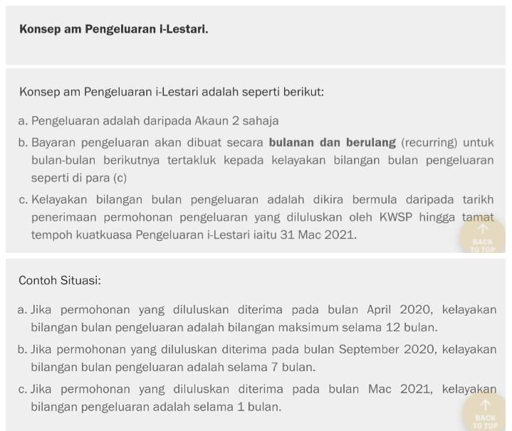 KONSEP PENGELUARAN I-LESTARI KWSP AKAUN 2