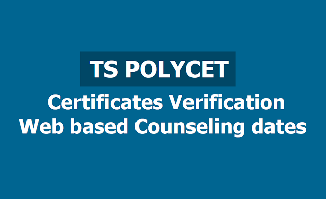 TS Polycet 2019 Certificates verification, Web based counseling dates