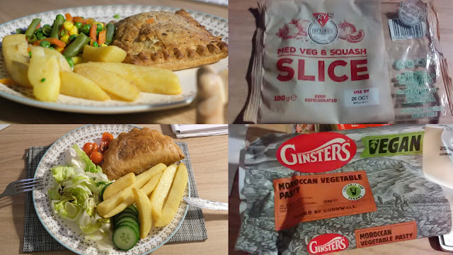 Two vegan cornish pasty style dinners with chips being compared