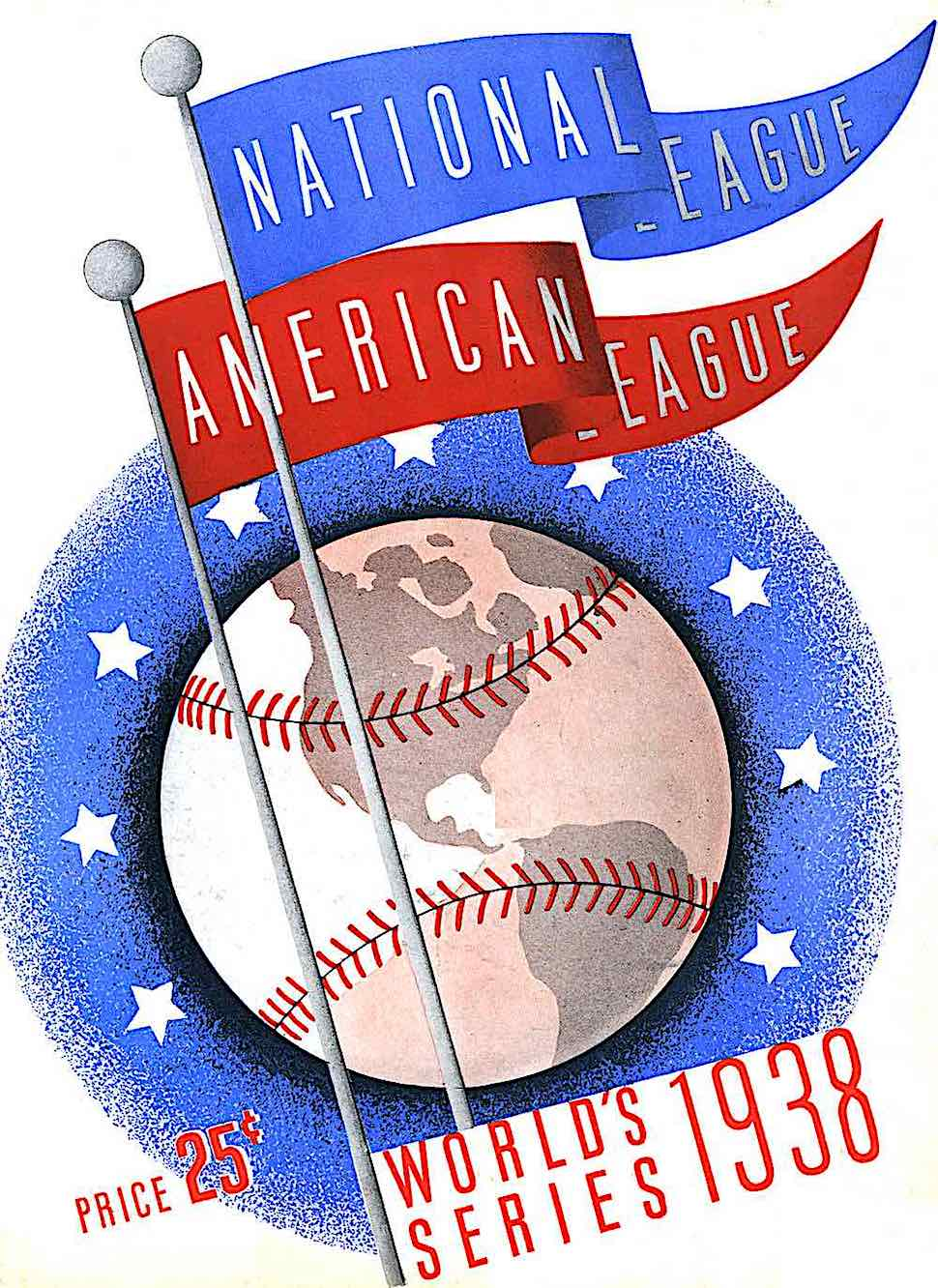 an Otis Shepard poster for the 1938 World Series baseball, showing the Earth as a giant baseball