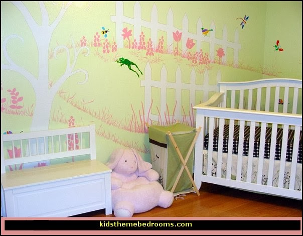 baby girl garden nursery theme decorating ideas - flower garden theme baby bedrooms - butterfly bedroom decor - butterfly bedroom theme - butterfly wall murals - tree wall murals - baby girl garden themed nursery