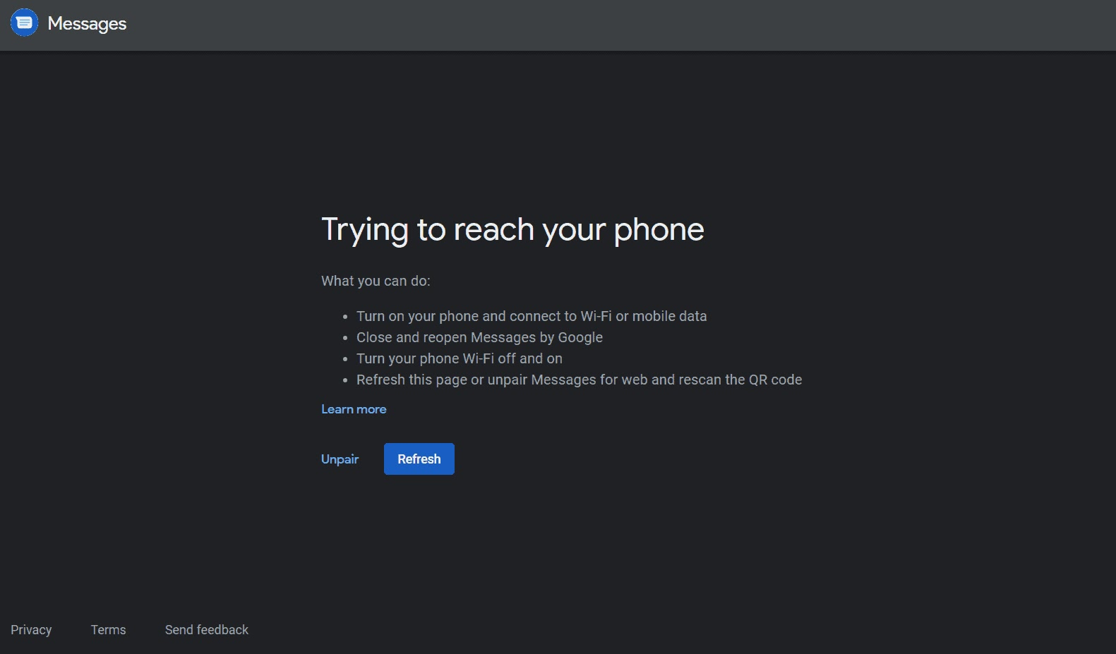 Messages for web not connected to the phone