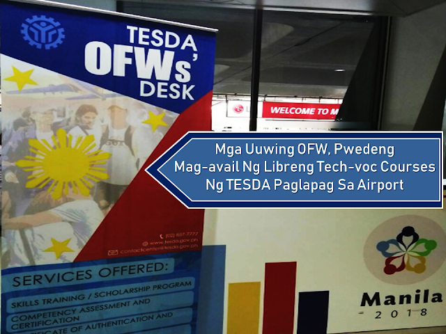 "re you tired of working as an overseas Filipino worker (OFW) or you want to upgrade your skills for the possible higher salary the next time you go abroad for work?  Technical Education and Skills Development Authority (TESDA) is now bringing their free tech-voc training programs closer to the OFWs by setting up a help desk at the airport where OFWs can inquire and apply for free training courses even right after their arrival.     Ads     Sponsored Links   {ADD A PARAGRAPH or 2 HERE}    A former overseas Filipino worker Rosalyn Laliyah, a former overseas Filipino worker, is currently taking a dressmaking course at the Technical Education and Skills Development Authority (TESDA) Women Center to build a private beach. Within a decade of her immigration, Laliyah began her domestic helper until she became a dental assistant in a Saudi hospital. Despite the widespread loss of income abroad, he still chose to live with the family in the Philippines. ""Do you have a big income if you're not happy?"" said Laliyah. The TESDA's returning countries, like Laliyah, are easier to apply in TESDA programs because of the TESDA OFWs' Standards set up at international airports in the country. Since the creation of OFWs' Desk in May 2018, nearly 1,500 OFWs have been assisted by them, mostly from the Middle East. At OFWs' Desk, you may ask for available courses, seek referral for skills training and renew a national certificate. The free technical-vocational training program offered by TESDA can also be sought. Aside from free tuition, enrollers will also receive the technical-vocational program of allowance, and allowance for instructional materials.  The Technical Education and Skills Development Authority (TESDA) revealed the top courses preferred by overseas Filipino workers (OFWs) who aim to professionalize and improve their existing skills or learn new courses to be able to seek for better opportunities abroad.  Among OFWs' most preferred courses were in the fields of tourism, infrastructure, land transportation, metals and engineering, and information and communications technology, reported Philippine News Agency.  Other top fields and courses include automotive, healthcare services, heating, ventilation, air conditioning and refrigeration, language and culture, processed food and beverages, and semiconductor and electronics courses.  According to Luz Victoria Amponin, executive director, TESDA's Partnerships and Linkages Office, OFWs can approach OFW desks deployed at the Ninoy Aquino International Airport (NAIA) Terminals 1 and 3 and at the Mactan-Cebu International Airport to get referral from TESDA for their preferred courses.  Once done, TESDA will refer them to schools offering their preferred courses particularly the ones nearest to their hometowns.  OFWs from the UAE are among the workers who have been given service by the OFW desks.  During the first half of 2018, TESDA has assisted more than 3,000 OFWs, 900 of whom were assisted through the OFWs desks at the airports.  In August, more than 200 Abu Dhabi-based OFWs had their skills certified by TESDA in the fields of Caregiving, Massage Therapy, Electrical Installation and Maintenance NC II and Trainer's Methodology for assessors with a passing rate of 81.79% that took place in an onsite assessment and certification program for OFWs at the newly opened Pinoy Overseas Workers' Education and Reintegration (POWER).  Labor Attache Atty. Ophelia Almenario was satisfied with the results and hopes that more Filipinos will take advantage of opportunities like this to give a boost to their credentials. ""It's a good sign. It means that OFWs here are very interested in upskilling and upgrading their expertise,"" said Almenario.  Filed under the category of overseas Filipino worker (OFW), Technical Education and Skills Development Authority (TESDA), free tech-voc training programs, help desk,  free training courses."