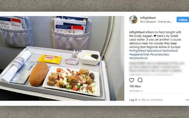 Menu Makanan di dalam Pesawat Aegean