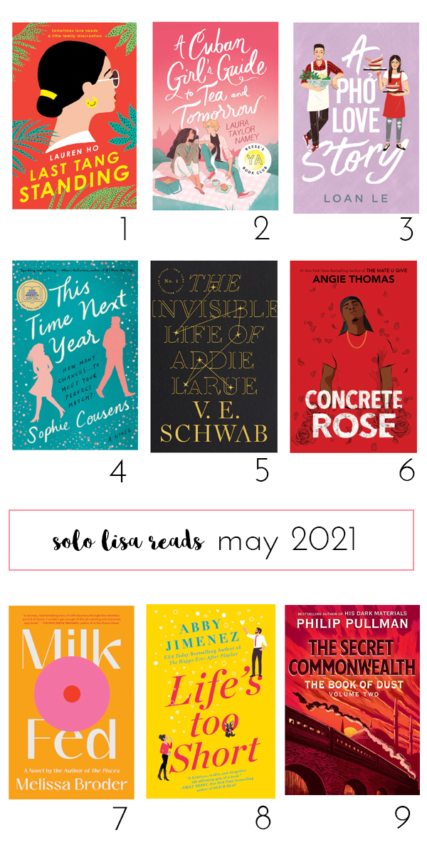 Round-up of book covers featuring Last Tang Standing by Lauren Ho, A Cuban Girl's Guide to Tea and Tomorrow by Laura Taylor Namey, A Pho Love Story by Loan Le, This Time Next Year by Sophie Cousens, The Invisible Life of Addie LaRue by V. E. Schwab, Concrete Rose by Angie Thomas, Milk Fed by Melissa Broder, Life's Too Short by Abby Jimenez, and The Secret Commonwealth by Philip Pullman