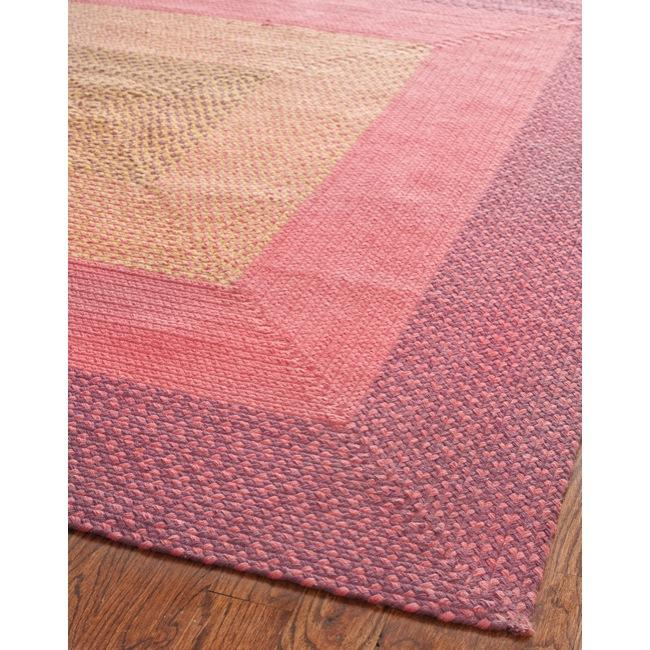 Pink Purple Yellow Braided Rug