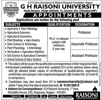 GH Raisoni University Agricultural Sciences Faculty Jobs