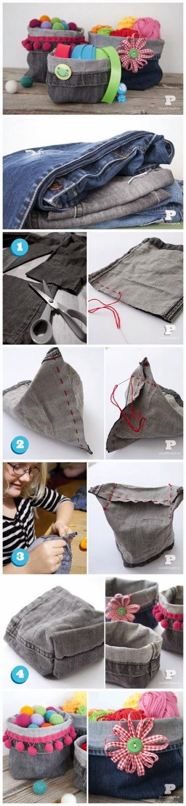 Cestinhos feitos com pernas de calça jeans - DIY