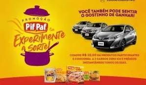 Cadastrar Promoção Experimente Sorte Pif Paf 3 Carros 0KM e 500 Prêmios 200 Reais