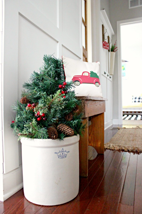 Christmas tree in a antique crock