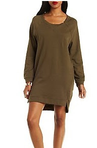 Charlotte Russe Olive Green Sweater Dress
