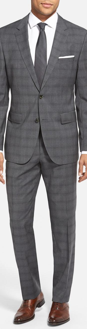 BOSS 'James/Sharp' Trim Fit Plaid Wool Suit Charcoal