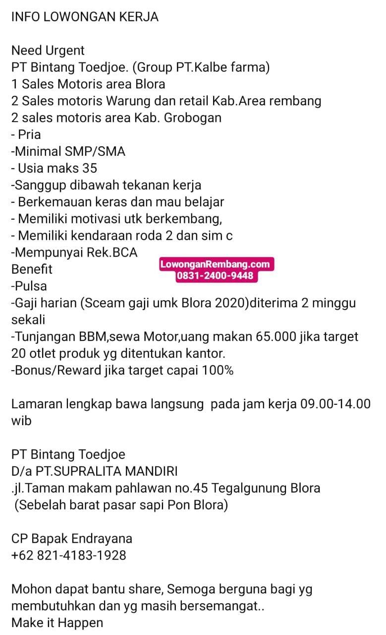 2 Lowongan Kerja Sales Motoris Warung Dan Retail Area Rembang PT Bintang Toedjoe Dapat Pulsa, Gaji Harian, Tunjangan, Bonus