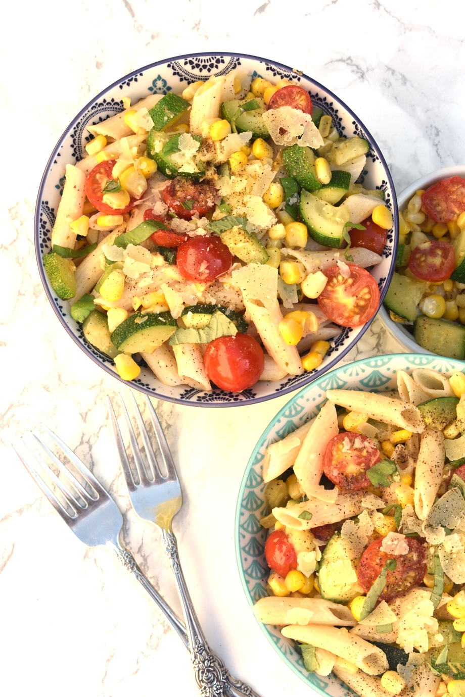 Tomato, Zucchini and Corn Pasta Salad