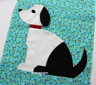 black and white dog quilt block