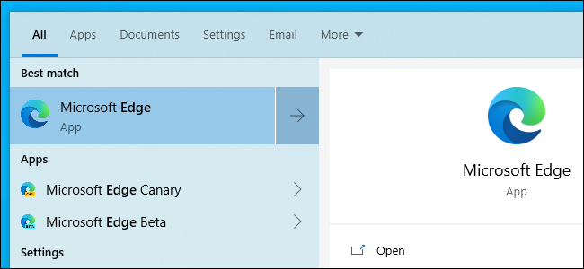 """افتح Microsoft Edge الجديد المستند إلى Chromium من القائمة """"ابدأ""""."""