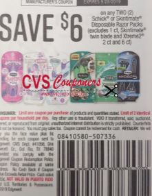 "$6/2 Schick or Skintimate Disposable Razor Packs Coupon from ""SMARTSOURCE"" insert week of 9/8 (EXP:9/28)."