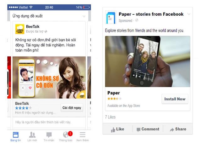 Hình thức quảng cáo Facebook App Install