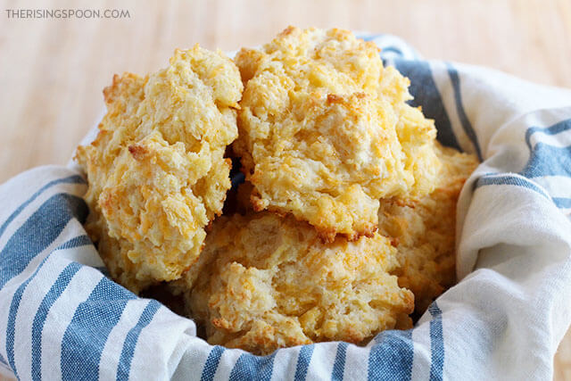 Easy Cheddar Garlic Buttermilk Drop Biscuits Recipe