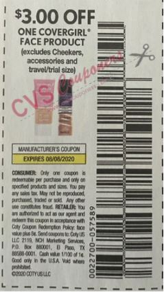 "$3.00/1-Covergirl Face product Coupon from ""SMARTSOURCE"" insert week of 7/12/20."