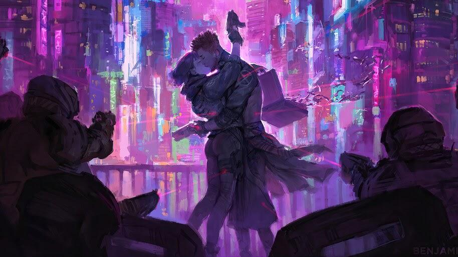 Cyberpunk, Couple, Kiss, Sci-Fi, City, 4K, #4.3078