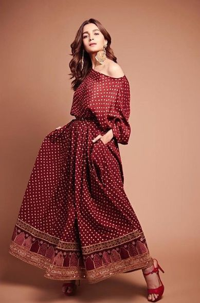 Alia Bhatt Wearing Red color empire waist dress