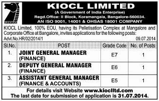 KIOCL Recruitments of JGM, DGM and AGM for Finance and Accounts (www.tngovernmentjobs.in)