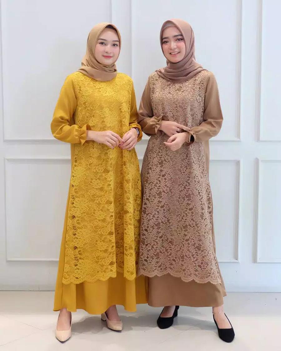 Model baju lebaran terbaru Hijab dan Gamis Syar'I Brokat