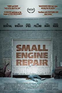 Film poster - body lying under a closing garage door