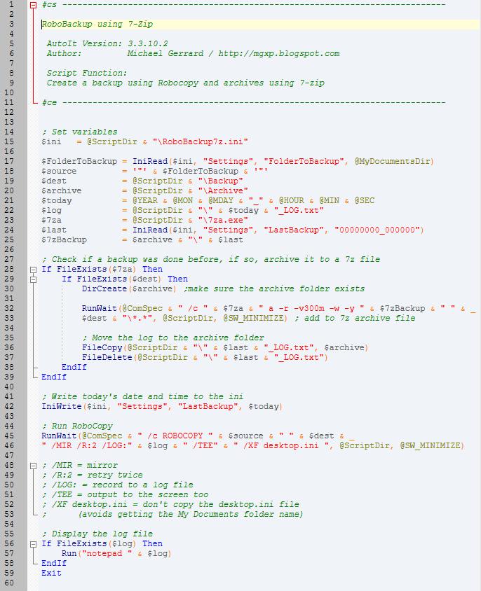Michael's TechBlog: RoboBackup7z - an AutoIt script to