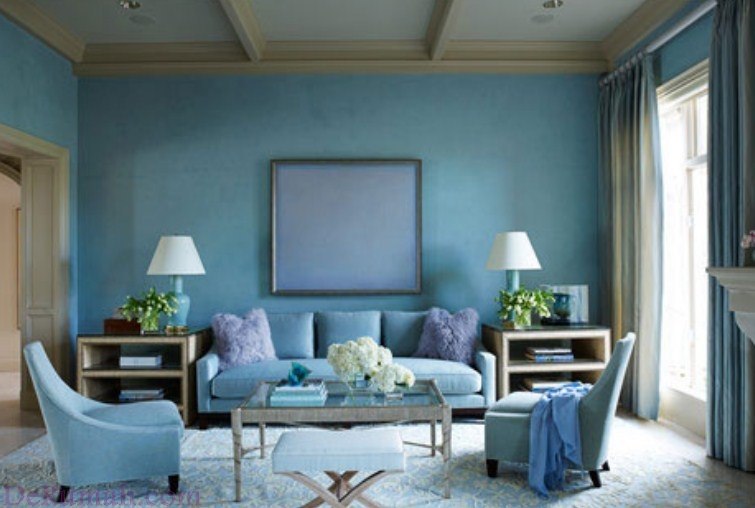 49+ Living Room Interior Decoration With Blue Paint Color