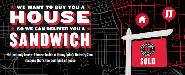 Jimmy John's is giving away a quarter of a million dollars to buy a house in their delivery area, just so they can deliver you a sandwich!