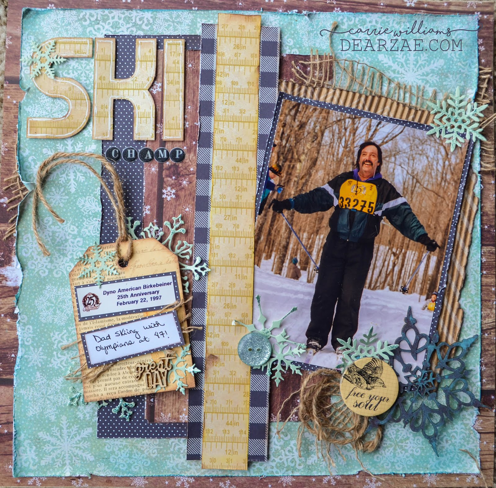 Cross country ski scrapbook page layout in blue, brown and cream yellow with burlap, corrugated cardboard, matboard, and snowflake die cuts