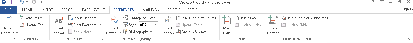 Menu References Microsoft Word