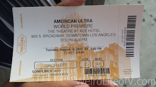 My ticket for the American Ultra Red Carpet Premiere