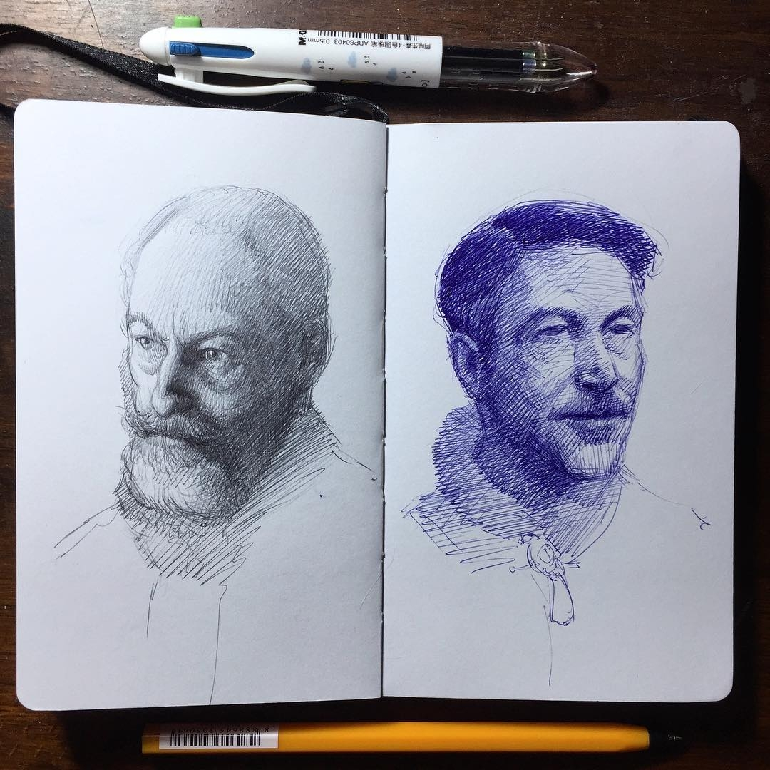 10-Sir-Davos-and-Petyr-Baelish-Game-of-Thrones-Arthur-Gains-Moleskine-Sketches-of-Celebrities-and-other-Portraits-www-designstack-co