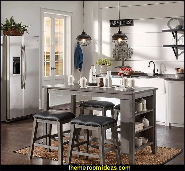 modern farmhouse kitchen  furniture Farmhouse kitchen furniture Brandi Grey Counter Height 5-piece Dining Set with Side Storage