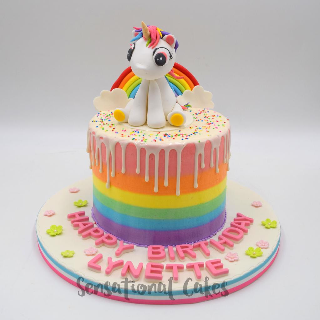 Rainbow Unicorn For Girls Birthday Customized Theme Drip Cake Singapore Dripcake Rainbowcake